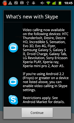 Skype 2.1 for Android
