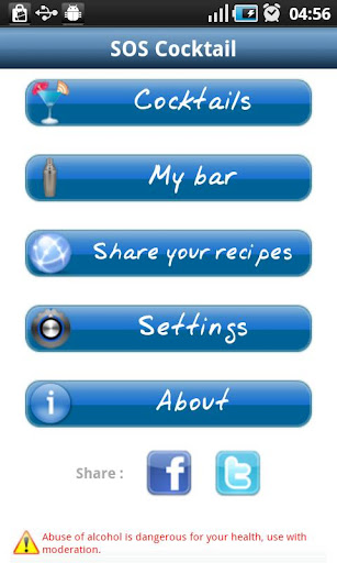 sos cocktail app settings