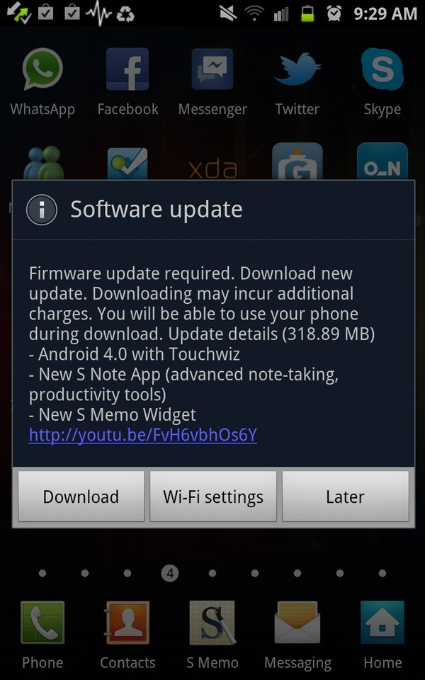 galaxy note android update