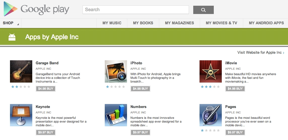 iPhoto, iMovie, And Other Apple Apps Appears In Google Play Store